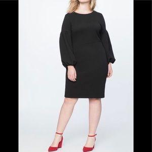 NWT-Eloquii Black Bodycon Puff Sleeve Dress-16